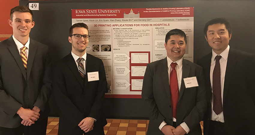 IMSE assistant professor Hantang Qin poses with his undergraduate research assistants at the Research at the Capitol April 3 in Des Moines. From left: Tanner Spies, Eric Spahr, Kevin Lin, and Hantang Qin