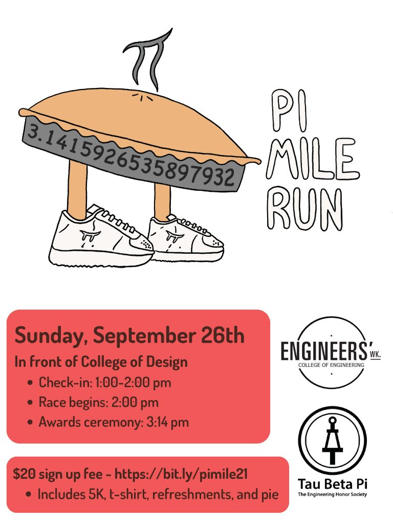 A flyer for the Pi Mile Run